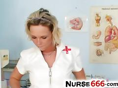 Czech nurse Gabriela vagina flexing in gyno clinic