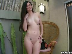Kendall Karson sucks a dildo while getting her pussy pounded hard